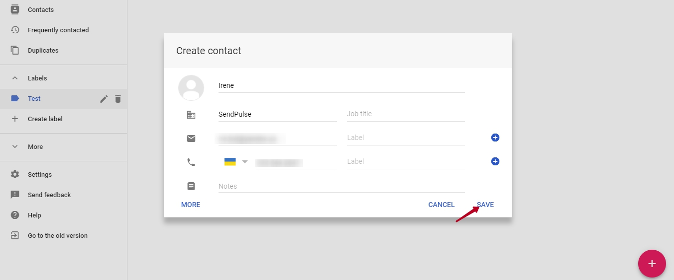 gmail create contact